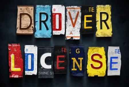 Driver license word on vintage broken car number plates, concept sign Stock Photo