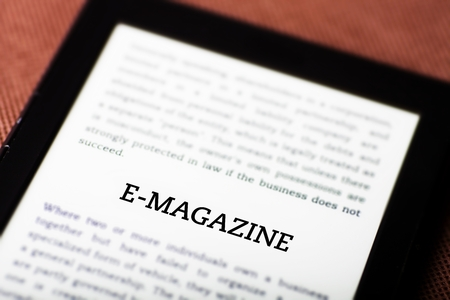 E-magazine on ebook, tablet pc concept