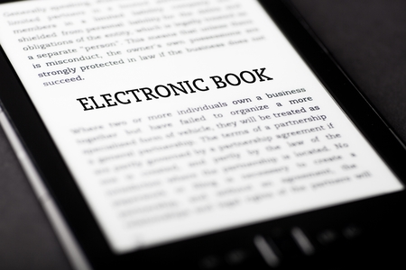 Electronic book on tablet pc touchpad, ebook concept Stock Photo - 23216936