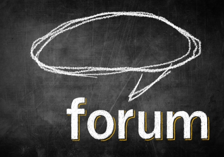 Forum with empty speech bubble on chalk board, conceptual sketch photo