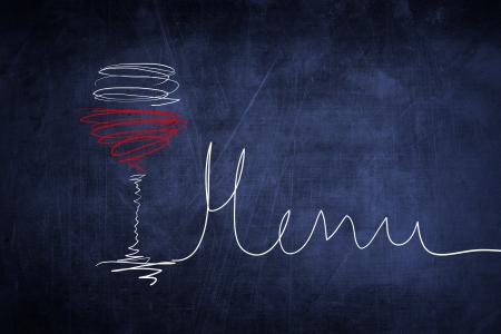 Hand drawing sketch menu and wine glass on chalkboard