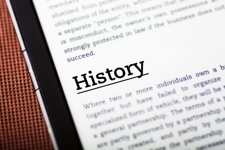 History on tablet pc screen, ebook concept Stock Photo - 23216965
