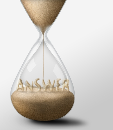 expectations: Hourglass with Answer, concept of expectations and passing time