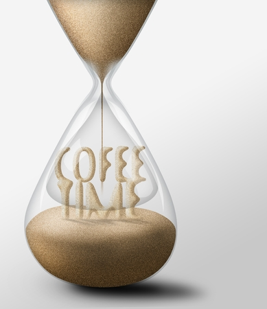 expectations: Hourglass with Coffee Time, concept of leisure nad expectations Stock Photo