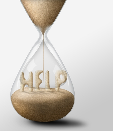 expectations: Hourglass with Help, concept of expectations and passing time Stock Photo