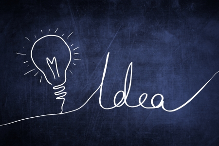 Idea sketch concept with light bulb sign photo