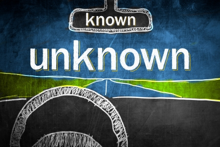 known: Known and unknown concept inside car, chalk sketch on blackboard Stock Photo