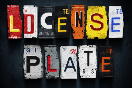 License plate word on vintage broken car plates, concept sign photo