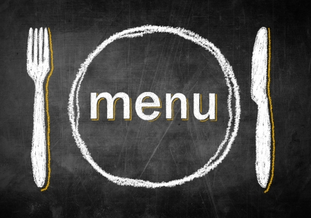 main idea: Menu chalk board with fork and knife, concept restaurant design Stock Photo