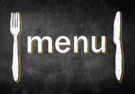 main dishes: Menu chalk board with fork and knife, concept restaurant design Stock Photo