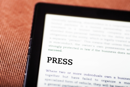 Press on ebook, tablet pc concept Stock Photo - 23190508