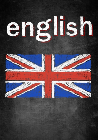 School concept of learning english language, chalk board with British flag United Kingdom photo
