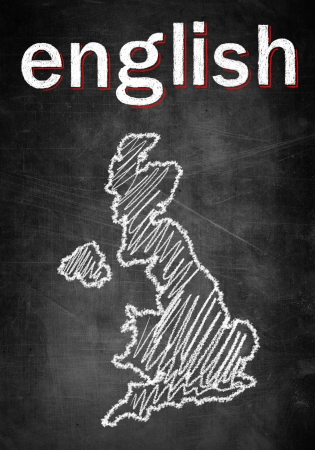 School concept of learning english language, chalk board with British map United Kingdom photo