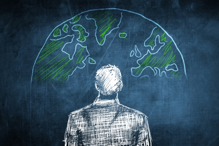 Sketch global businessman concept with earth globe Stock Photo