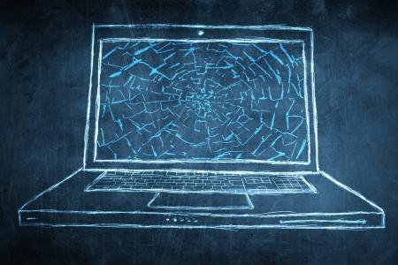 netbook: Sketch netbook, computer broken screen concept Stock Photo