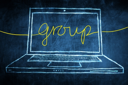 Sketch netbook computer screen, business concept with group word photo