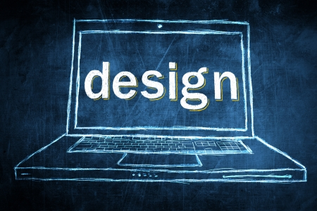 netbook: Sketch netbook computer screen, concept with design word