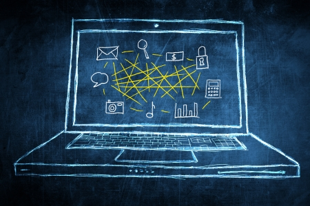 netbooks: Sketch netbook computer screen, concept with network mind map Stock Photo