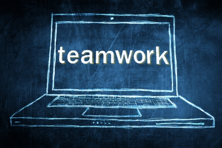 Sketch netbook computer screen, concept with teamwork word photo