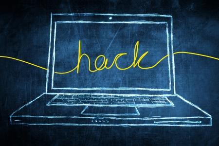 hack: Sketch netbook computer screen, internet concept with hack word