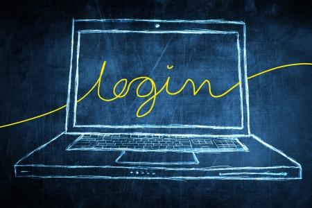 netbook: Sketch netbook computer screen, internet concept with login word