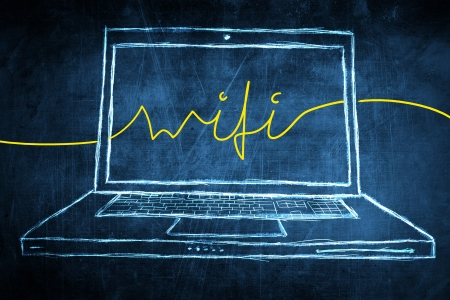 netbook: Sketch netbook computer screen, internet concept with wifi word