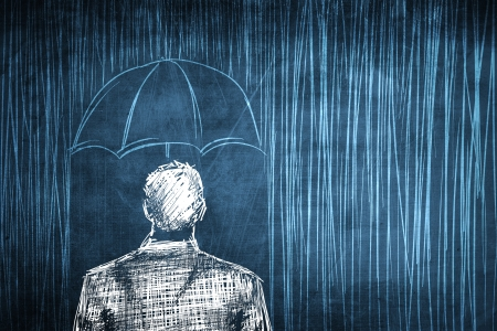 Sketch protected businessman concept with umbrella and rain Stock Photo