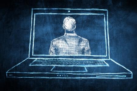 netbook: Sketch successful businessman concept on netbook computer screen