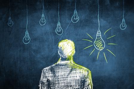 choise: Sketch successful businessman concept with idea light bulb Stock Photo