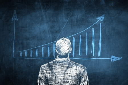 Sketch successful businessman concept with rising chart photo