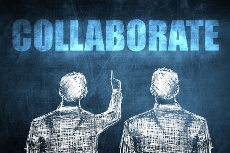 Two successful businessman showing collaborate, business concept sketch