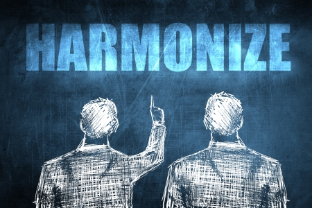 harmonize: Two successful businessman showing harmonize, business concept sketch
