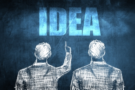 Two successful businessman showing idea, business concept sketch Stock Photo
