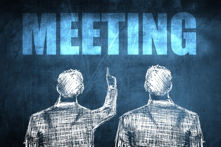 Two successful businessman showing meeting, business concept sketch Stock Photo - 23217241