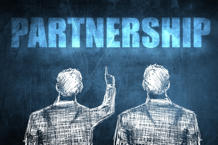 Two successful businessman showing partnership, business concept sketch Stock Photo - 23217242