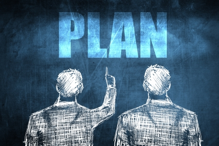 Two successful businessman showing plan, business concept sketch Stock Photo - 23217244