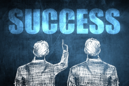Two successful businessman showing success, business concept sketch Stock Photo