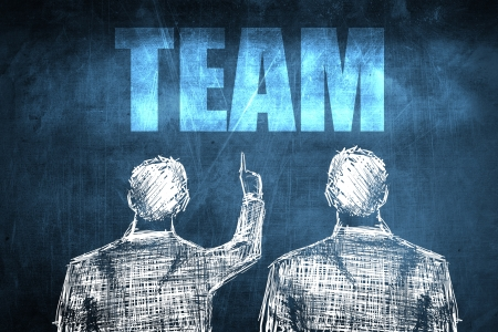 Two successful businessman showing team, business concept sketch Stock Photo - 23217247