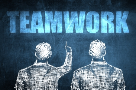 Two successful businessman showing teamwork, business concept sketch Stock Photo