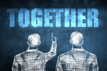 Two successful businessman showing together, business concept sketch Stock Photo - 23217249