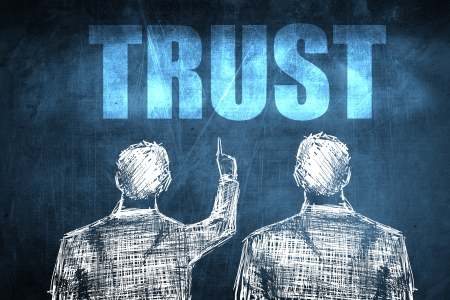 Two successful businessman showing trust, business concept sketch Stock Photo