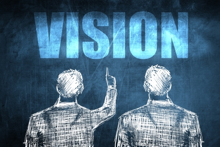 Two successful businessman showing vision, business concept sketch Stock Photo - 23217248