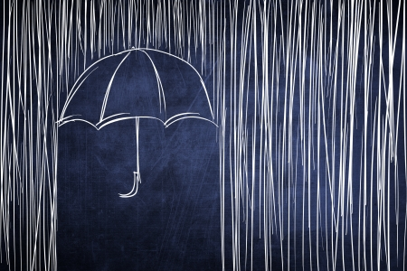 downpour: Umbrella and rain conceptual sketch on chalkboard
