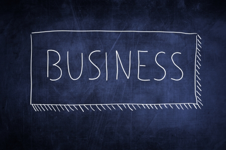 Word business handwritten on a chalkboard, idea concept photo
