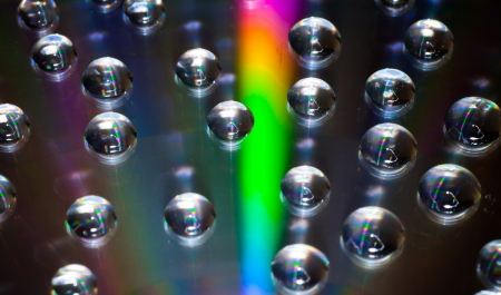 grooves: Colorful water drops on CDDVD disc