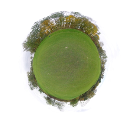 Little tiny planet with golf course green field, Small world isolated Stock Photo - 23187513