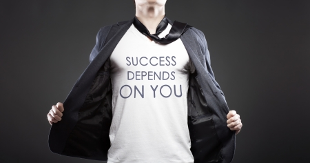 depends: Success depends on you with young successful businessman creative concept