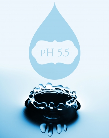 ph: PH creative concept with water drop and splash