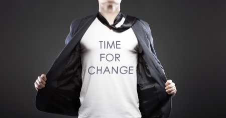 Time for change with young successful businessman creative concept photo