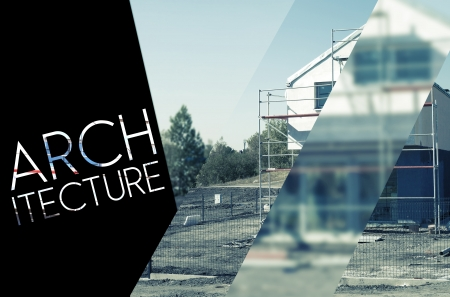 architecture design: Architecture design with photography and typography